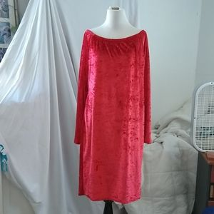 Fab bright red velour dress, sz 3XL